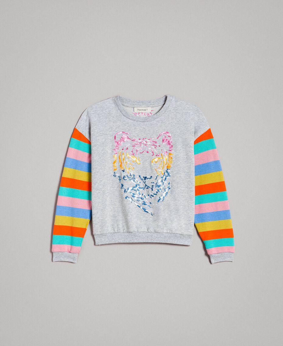 Felpa in cotone e maglia a righe Rigato Multicolor / Grigio Melange Bambina 191GJ2451-01