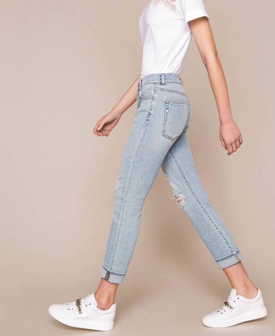 Jeans tomboy con rotture Denim Blue Donna 201MP2274-01