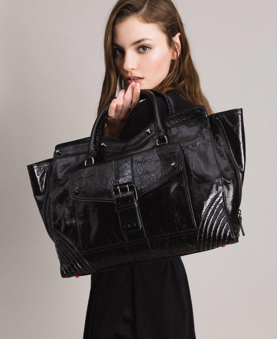 Rebel leather shopping bag Black Woman 191TA7235-0S