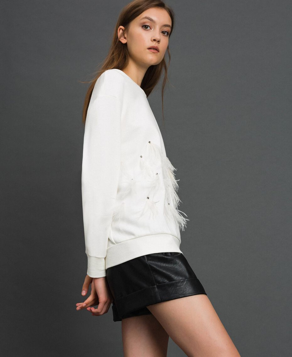 Sweatshirt with stones and feathers Milk White Woman 192TT2131-02