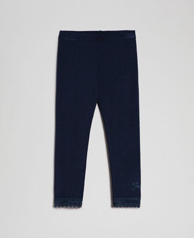 Legging avec dentelle et logo strassé Blue Night Enfant FCN2D3-01