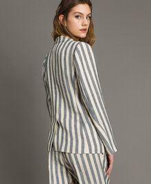 "Two-tone striped linen jacket Two-tone Black / ""Marzipan"" Beige Woman 191TT2310-03"