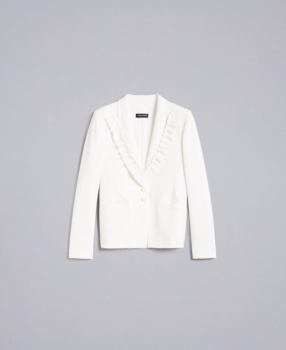 Jacke aus Interlock-Jersey mit Rüschen Weiß Schnee Frau PA821A-0S