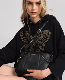 Faux leather shoulder bag with studs Black Woman 192TO8164-0S
