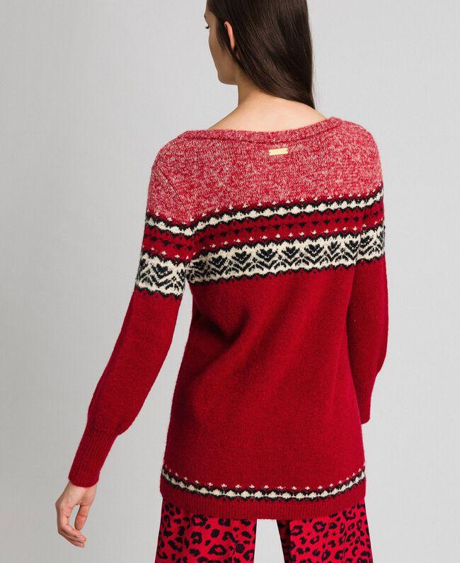 Maxi pull en mélange de laine et mohair jacquard Rouge Ardent Femme 192LL3AHH-04