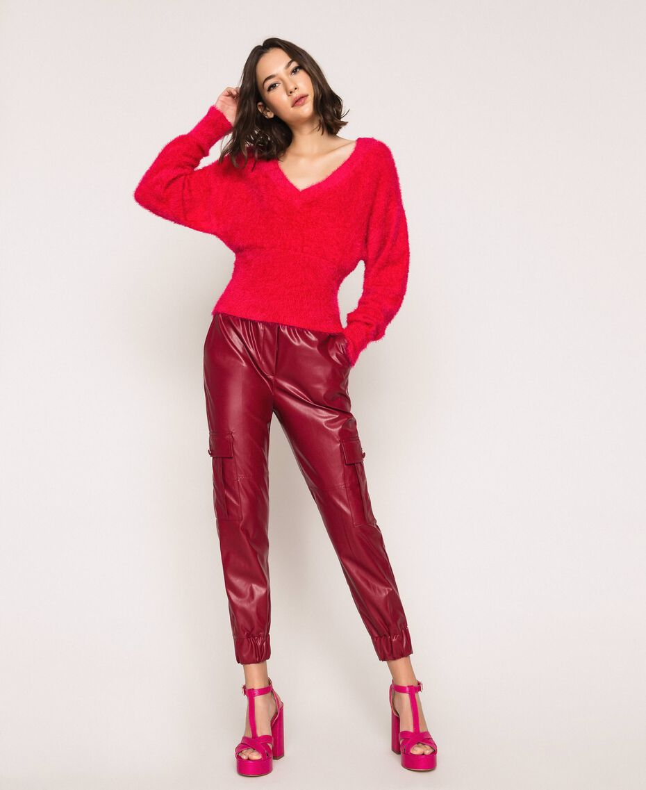 Fur effect yarn jumper Black Cherry Woman 201TP3092-02