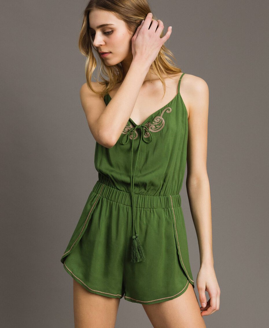 Short jumpsuit with shoulder straps and embroideries Ivory Woman 191LM2RDD-02
