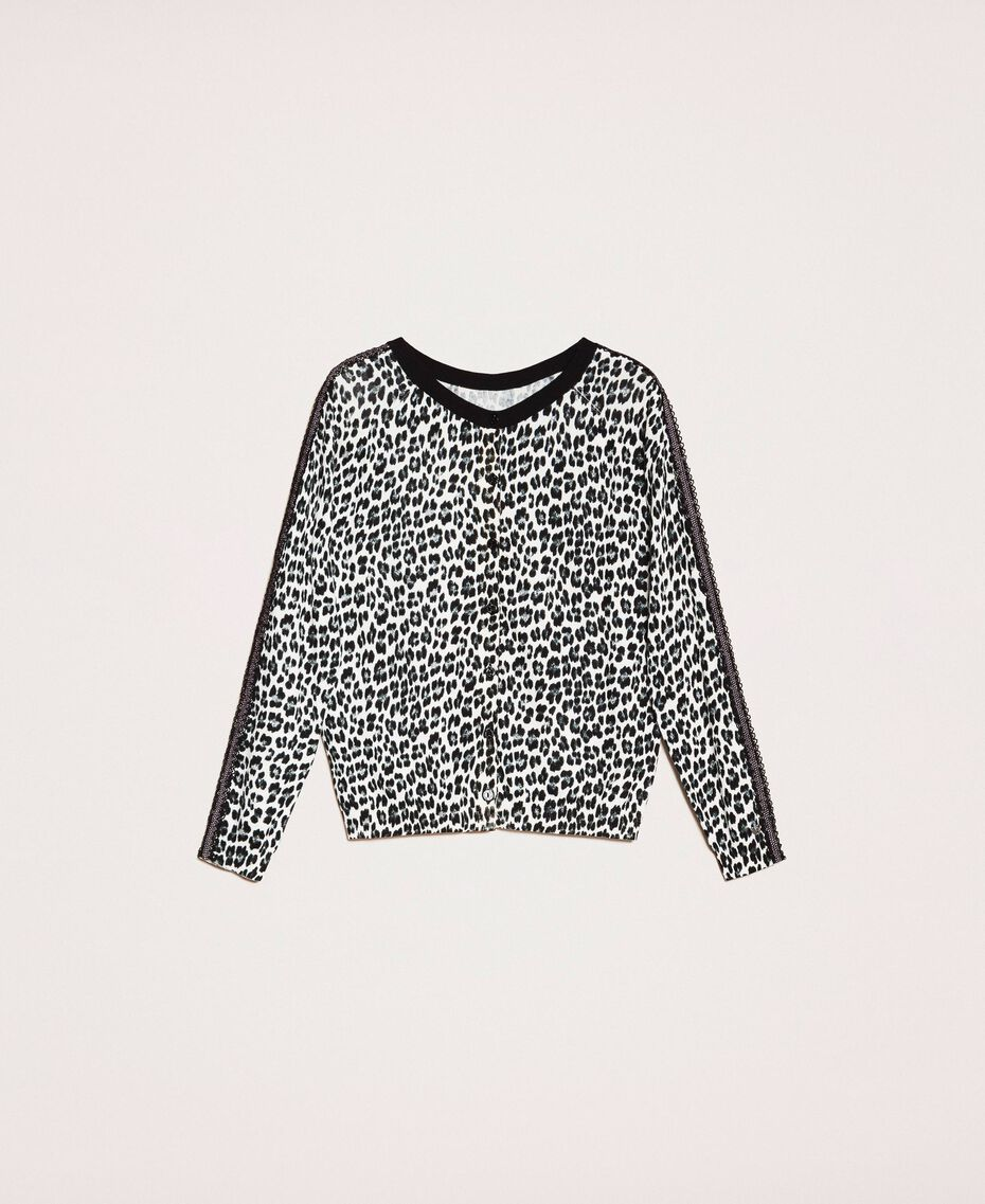 Pull-cardigan avec imprimé animalier Imprimé Animalier Lis / Noir Femme 201MP306A-0S
