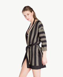 Lurex cardigan Two-tone Black / Gold Woman BS84BB-03