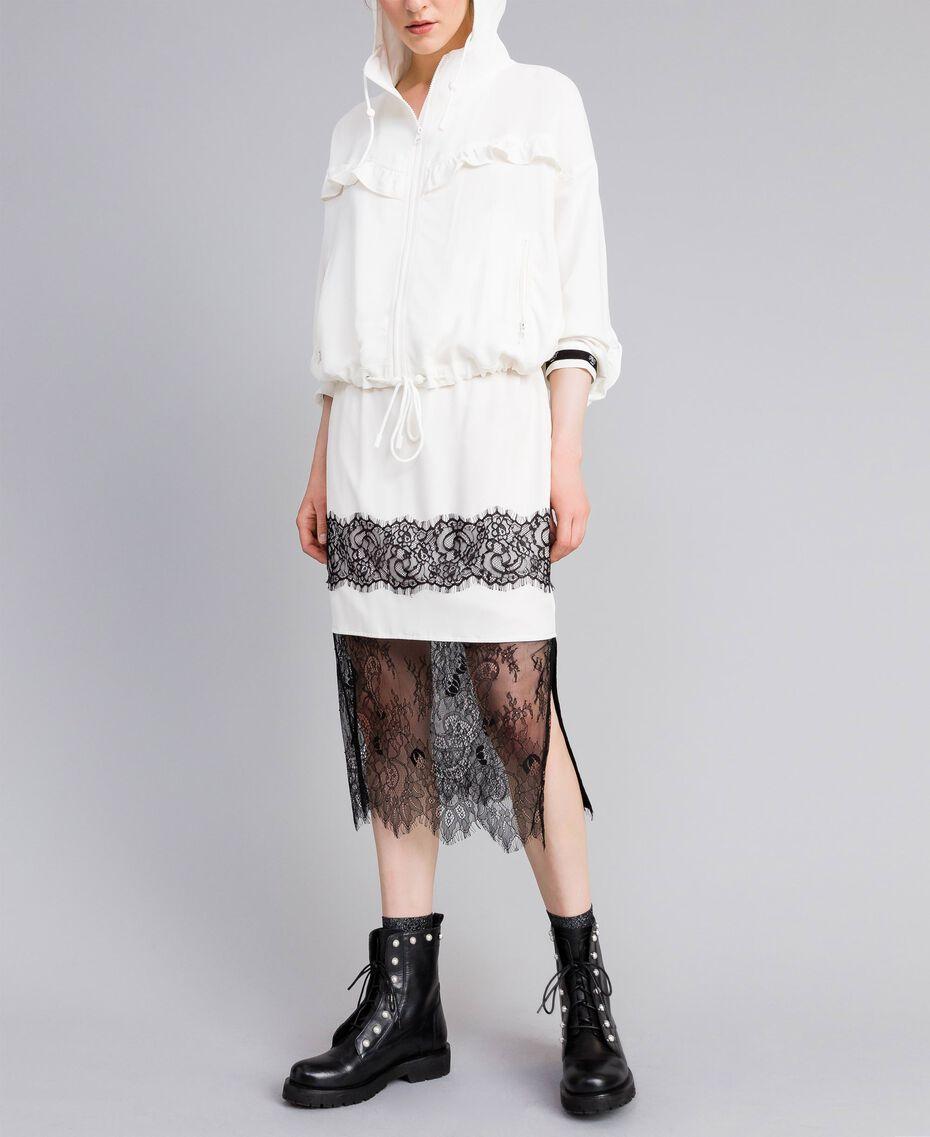 Jupe mi-longue en soie Blanc Neige Femme PA82EP-02