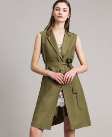 "Linen envers satin long waistcoat ""Olive"" Green Woman 191TT2300-03"