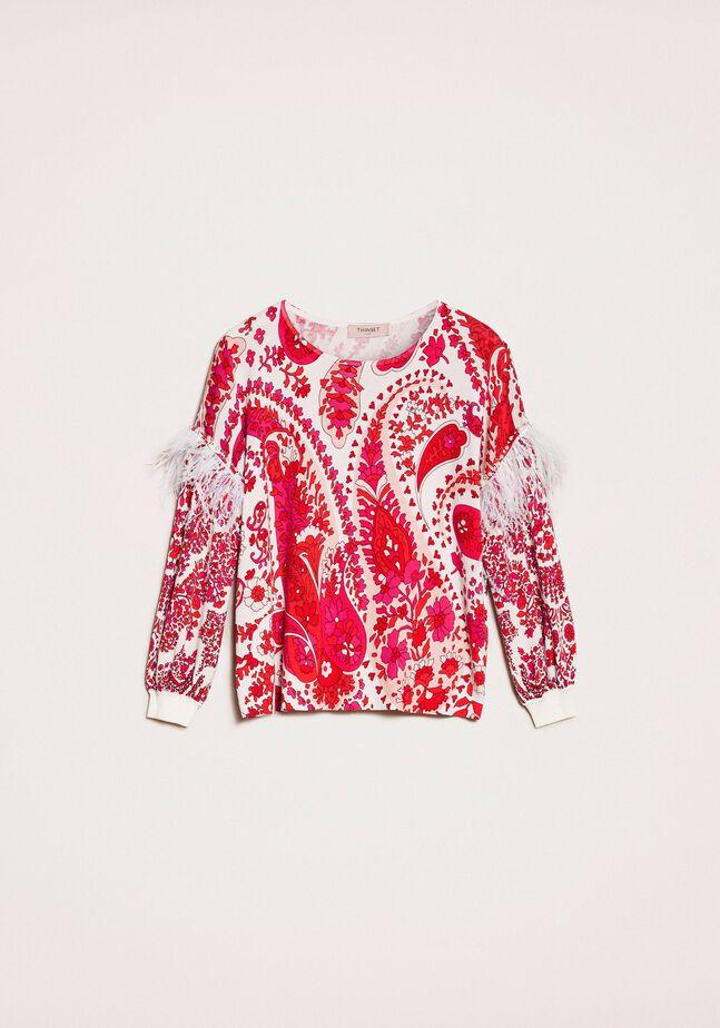 Pullover mit Print und Federn