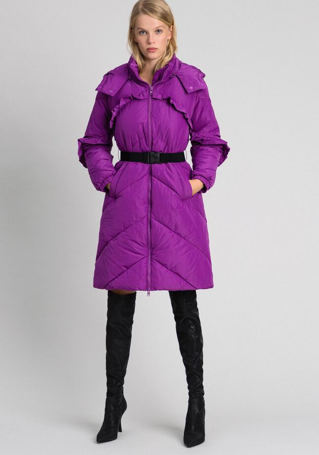 Long taffeta puffer jacket with frills