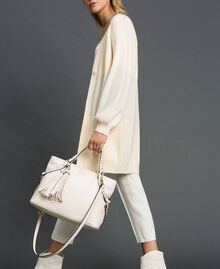Faux leather shopping bag with studs White Snow Woman 192TO8160-0S