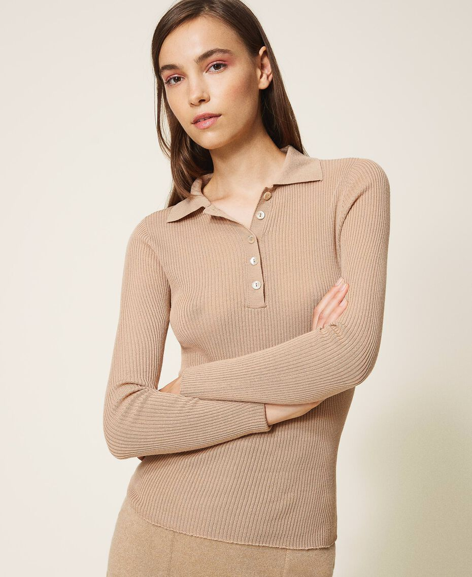 "Ribbed wool jumper ""Pastel Skin"" Beige Woman 202TT3080-01"