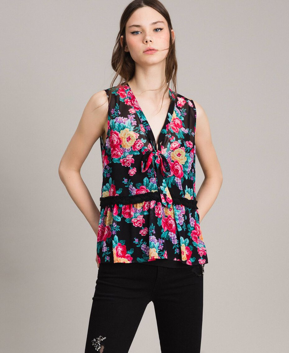 Georgette top with ribbon and flounce Black Flowers Print Woman 191MP2332-02