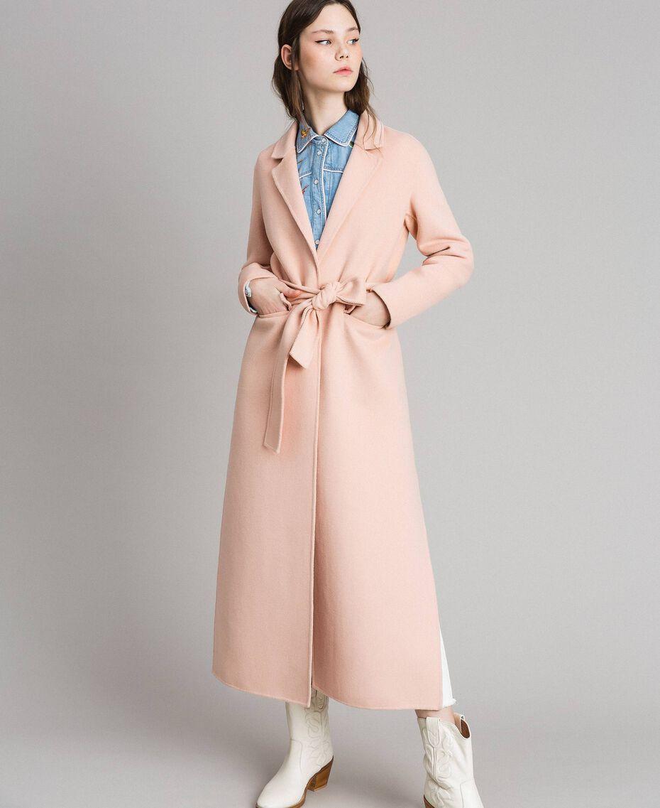 "Double wool cloth long coat ""Nude"" Beige Woman 191TP2480-05"