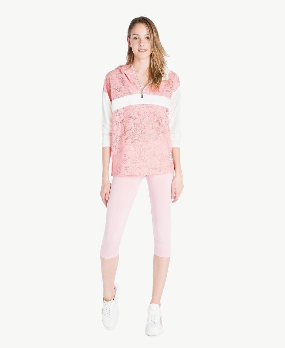 Sweatshirt aus Spitze Zweifarbig Pinkie / Optisches Weiß Frau LS89AA-02