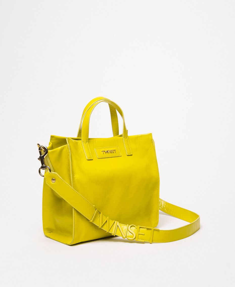 Medium leather shopper with logo Lime Yellow Woman 201TO8091-02