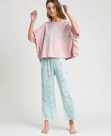 Langer Pyjama mit Rüschchen Motiv Blätter Mousse Blau Frau 191LL2FBB-0S