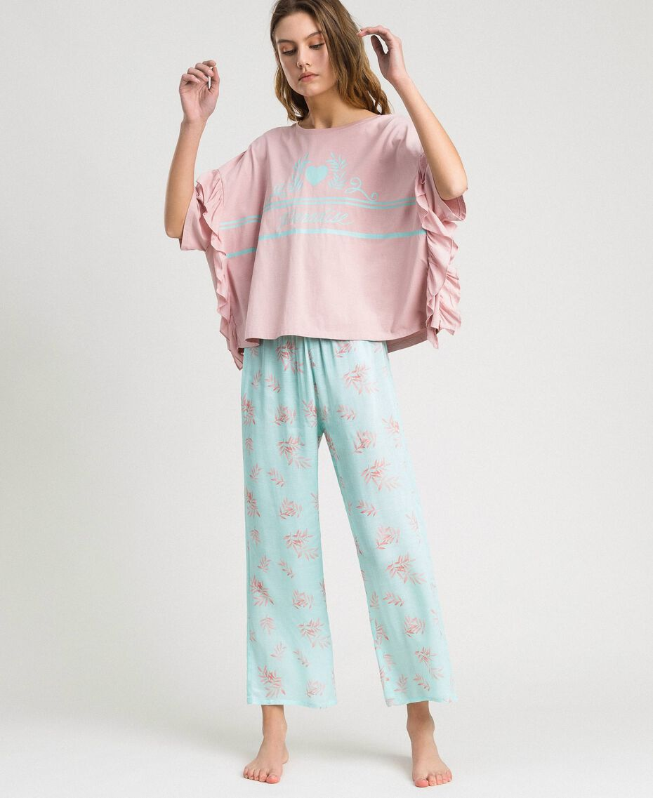 Ruffled long pajamas Mousse Blue Leaf Print Woman 191LL2FBB-0S