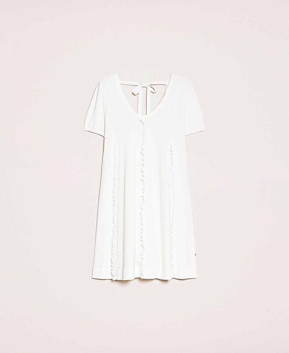 Dress with stitching and frills White Woman 201ST3066-0S