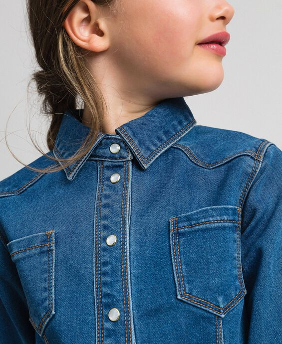Denim effect shirt with pockets