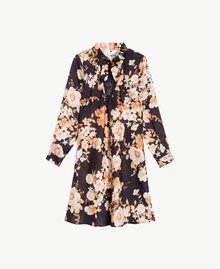 "Macro floral dress ""Nuditè"" Beige Print / Black IA7KFF-01"