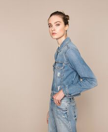 Blouson en jean avec strass Bleu Denim Femme 201MP2271-04