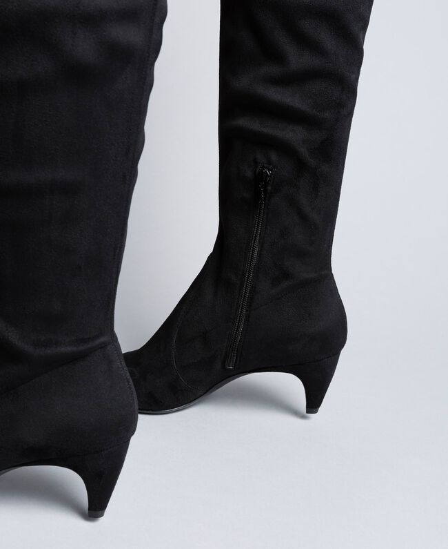 Fabric over-the-knee boots Black Woman CA8TDC-03