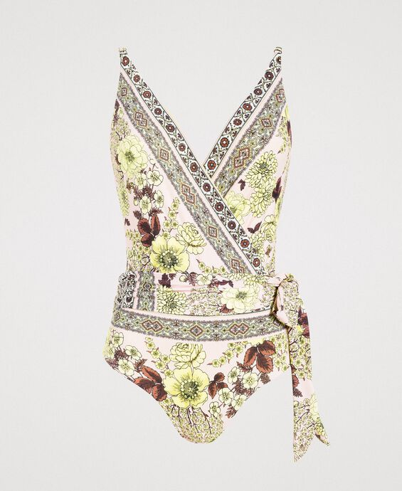 One-piece swimsuit with a shawl print