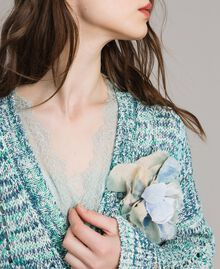 Flower fabric brooch Mykonos Light Blue Woman 191TA431J-0S