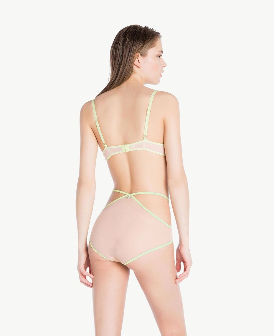 "High waisted embroidered briefs Two-tone ""Soft Lime"" Yellow / ""Peach Powder"" Pink Woman LS8F99-04"