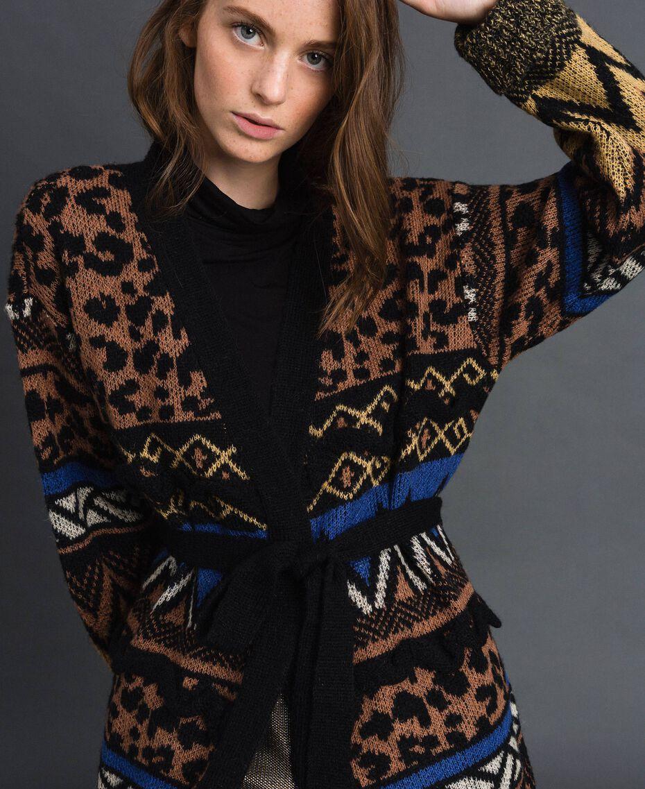 Cardigan en laine et mohair avec motifs jacquard Jacquard Mélange Géométrique Animalier Femme 192ST3191-02