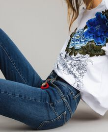 Skinny jeans with charms Denim Blue Woman JCN2V3-05