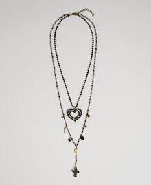 Collier chapelet avec mélange de chaînes et pendentifs Noir Femme 192TA436F-01