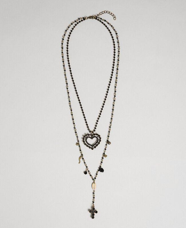 Collana rosario con mix di catene e pendenti Nero Donna 192TA436F-01