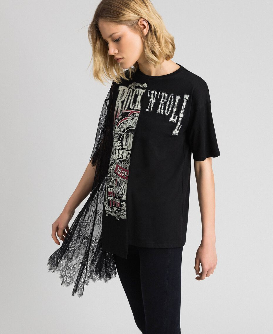 Asymmetric printed T-shirt with lace Black Woman 192MP2434-02
