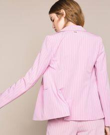 "Double breasted pin stripe blazer ""Candy"" Pink Pin Stripe Jacquard Woman 201ST2080-01"