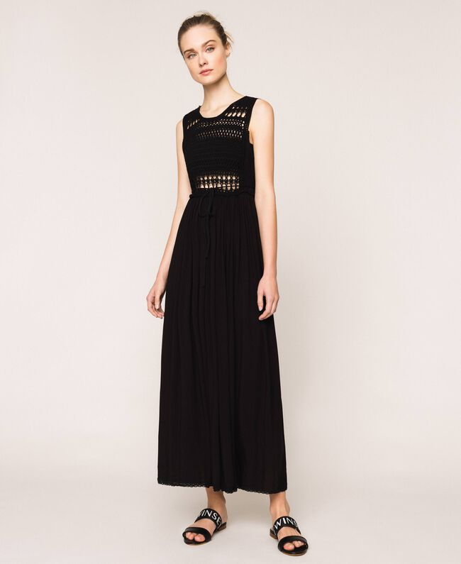 Long dress with crochet Black Woman 201LB36AA-03