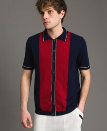 "Crêpe cotton polo shirt with inlay pattern Multicolour ""Blackout"" Blue / ""Dark Raspberry"" Red / Beige Porcelain Man 191UT3021-01"