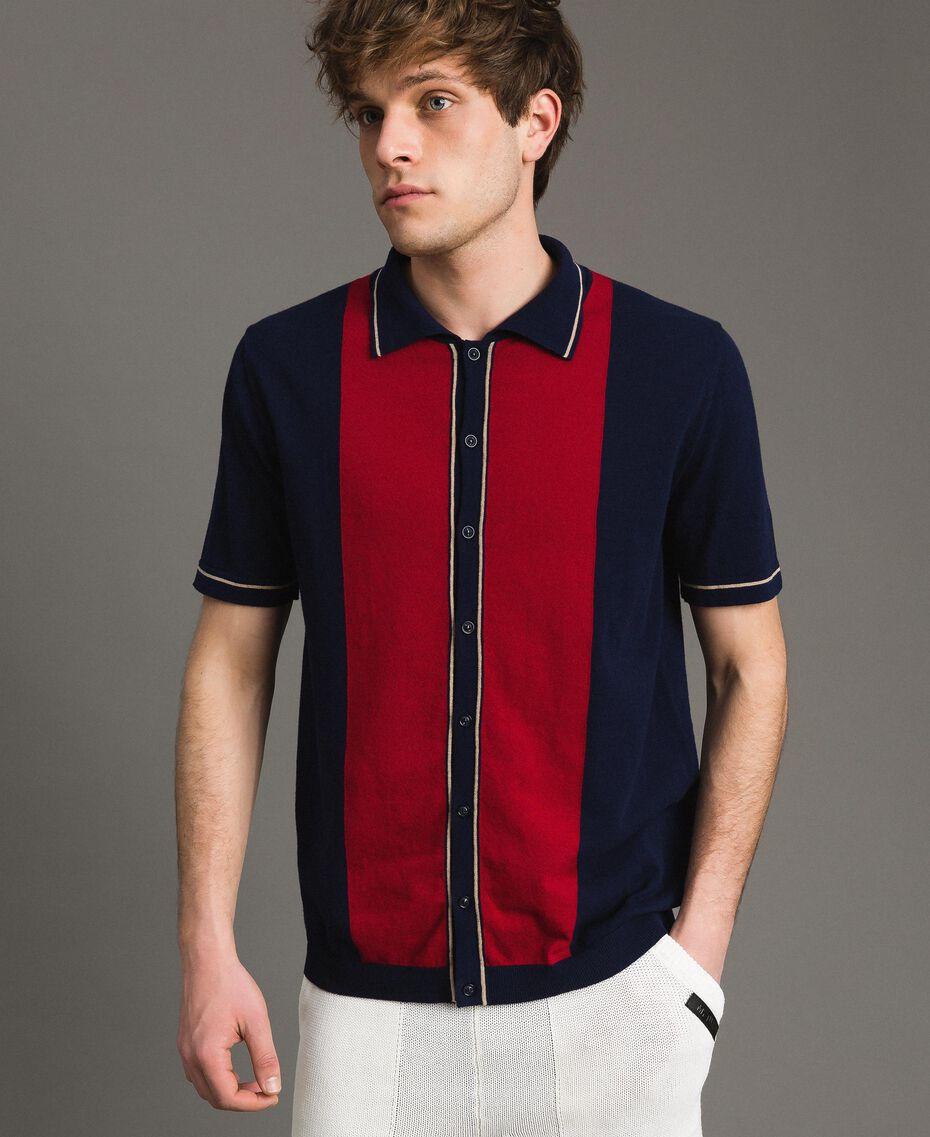 """Polo in cotone crêpe con intarsio Multicolor Blu """"Blackout"""" / Rosso """"Lampone Scuro"""" / Porcellana Beige Uomo 191UT3021-01"""