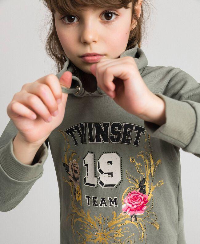 Bedrucktes Sweatshirt mit Logo Brokatprint Gold / Alpingrün Kind 192GJ2444-04
