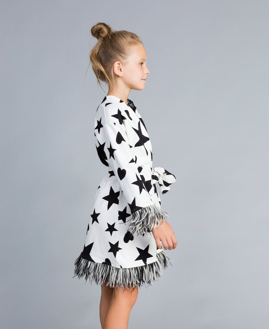 Fleece dressing gown with print Black / Off White Star Print Child GA828B-02