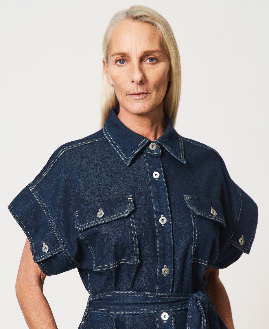 "'Antares"" denim shirt dress Dark Denim Woman 211MT211C-02"