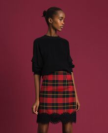 Gonna a vita alta in lana a quadri Jacquard Tartan Melograno Donna 192TP2624-02