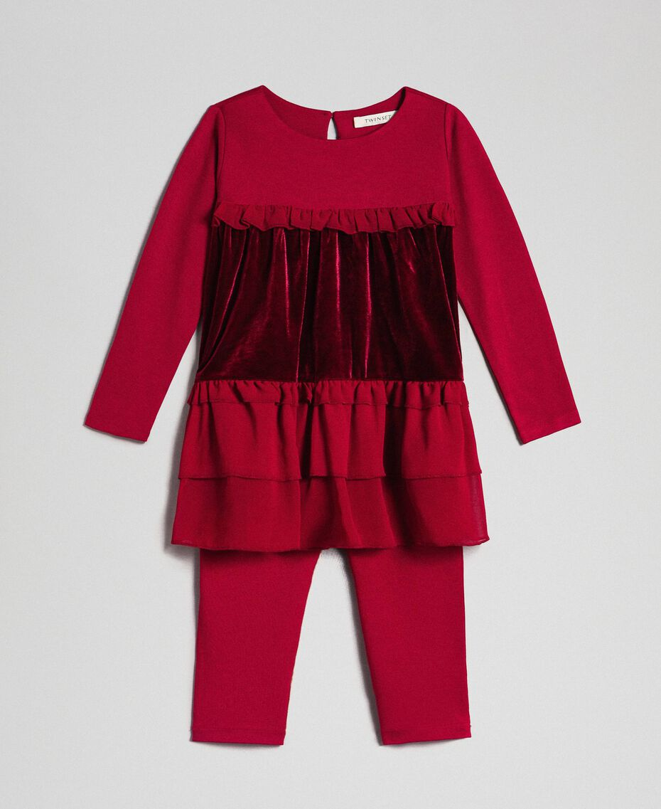 Blusa con balze e leggings Rosso Ruby Wine Bambina 192GB2270-01