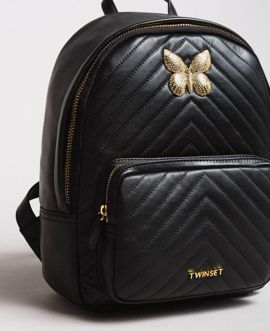 Matelassé leather backpack Black Woman 191TA7192-03