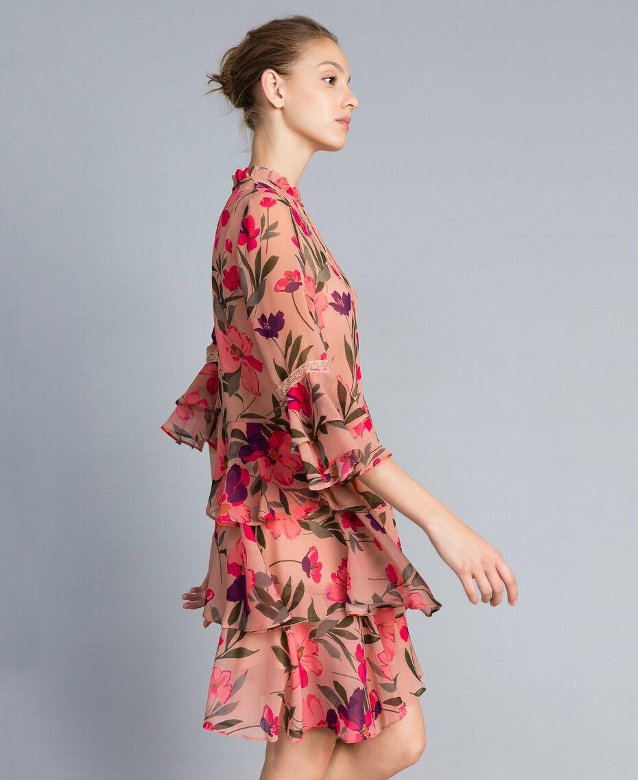 "Kleid aus Chiffon mit Blumenprint Print ""Rosa Tulpe"" Frau TA825R-02"