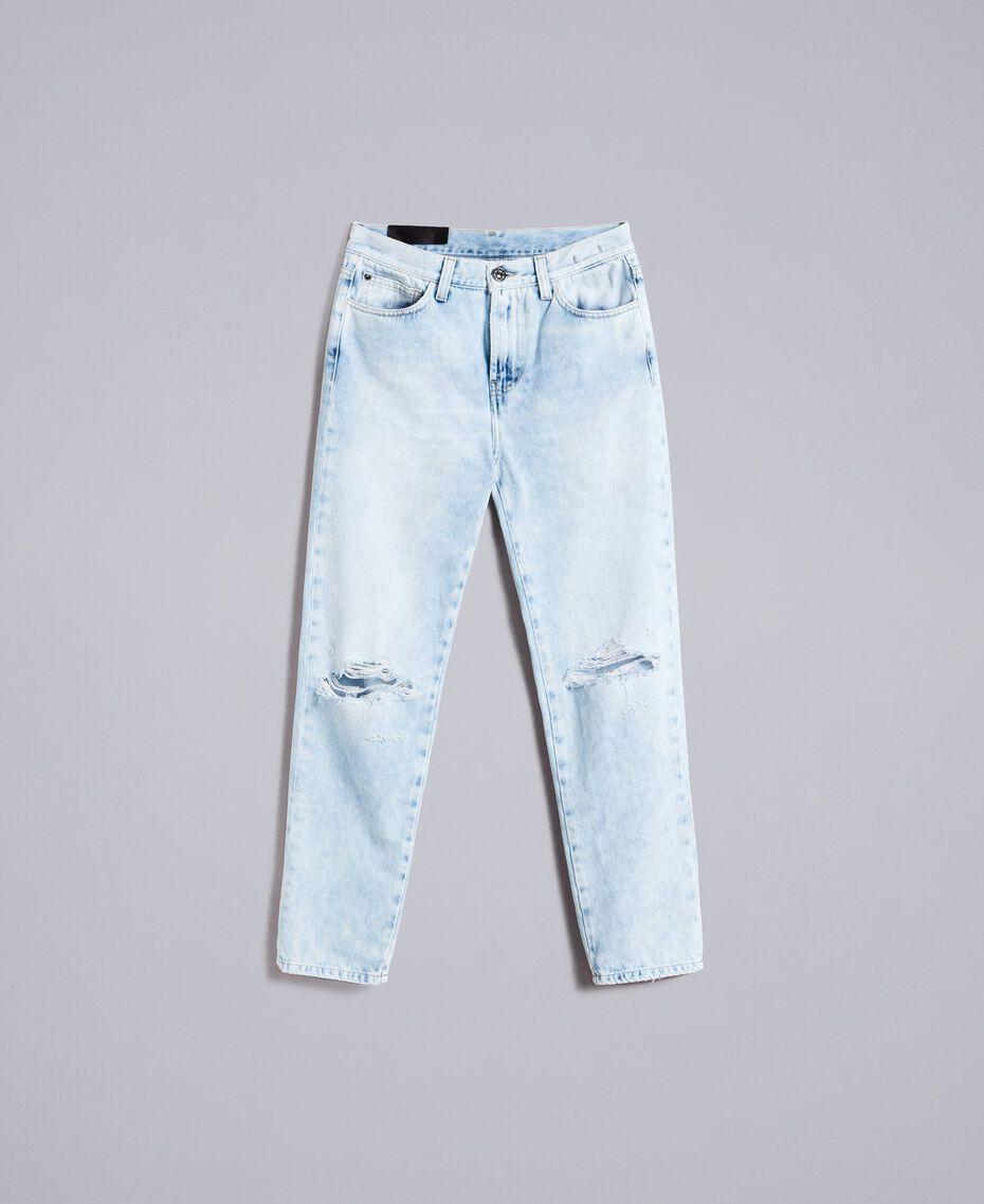 Eighties-inspired denim jeans Denim Blue Woman JA82QZ-0S